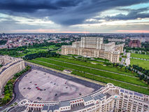 Bucharest city center and the Palace of Parliament at sunset, aerial view from Constitution Square. Bucharest city centre and the Palace of Parliament at sunset stock images