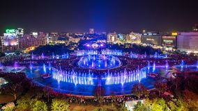 Bucharest city central Unirii Square new 2018 Fountain panoramic view and night city skyline. Bucharest city central Unirii Square new 2018 Fountain panoramic royalty free stock photography