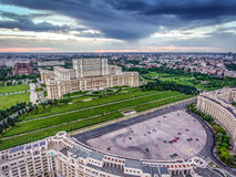 Bucharest city center and the Palace of Parliament at sunset, aerial view from Constitution Square stock photos