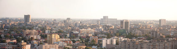 Bucharest city landmark view panorama. Bucharest, capital city of Romania sunset panoramic view from one of it's highest buildings. Photo shows the city center stock photo
