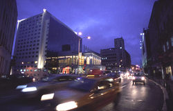 Bucharest city at night stock photography