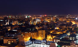 Bucharest city by night. Aerial view of Bucharest city by night Royalty Free Stock Image