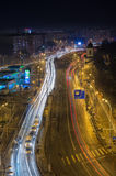 Bucharest city night traffic stock photography