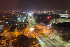 Bucharest city night view on University Square Royalty Free Stock Photos