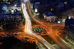 Bucharest city night view on University Square Stock Images