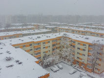 Bucharest city panorama covered in snow Royalty Free Stock Photos