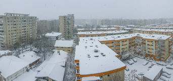 Bucharest city panorama covered in snow stock photo