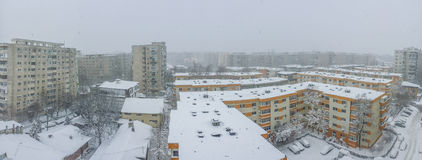 Bucharest city panorama covered in snow Stock Photos