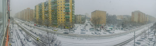 Bucharest city panorama covered in snow Royalty Free Stock Photo
