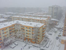 Bucharest city panorama covered in snow Royalty Free Stock Images