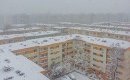 Bucharest city panorama covered in snow Royalty Free Stock Image