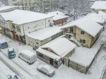 Bucharest city panorama covered in snow Stock Photography