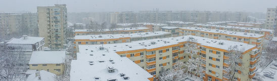Bucharest city panorama covered in snow stock images