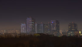 Bucharest city skyline at night with skyscrapers Royalty Free Stock Photo