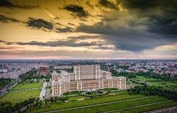 Bucharest city skyline panorama at sunset. HDR image. Stock Photo