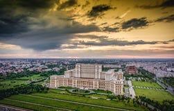 Bucharest city skyline panorama at sunset. HDR image. Stock Photos