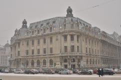 Bucharest city under heavy snowfall