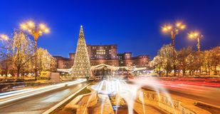 Bucharest cityscape in Christmas Holiday royalty free stock image