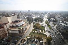Bucharest cityscape seen from above. University square and the Romanian National Theatre in Bucharest, seen from above stock photography