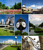 Bucharest collage. A collage of Bucharest main landmarks. Pictured are the Cismigiu Gardens, the old city center, Coltea Church and Hospital, the Dambovita River stock photo