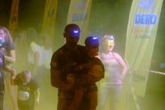 Bucharest Color Run Night stock photography