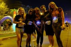 Bucharest Color Run Night stock photos