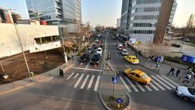 Bucharest czasu upływ na korporacyjnych budynkach zdjęcie wideo
