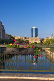 Bucharest on the Dambovita river Royalty Free Stock Images