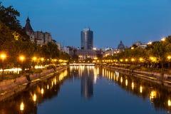 Bucharest on Dambovita river Royalty Free Stock Images