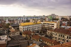 Bucharest at dawn. View from the top Stock Images