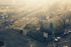 Bucharest. 19 December 2016-Bucharest,Romania. An editorial caption of a street in Bucharest, in the Lujerului district. We can see a gas station and a Plaza Royalty Free Stock Photos