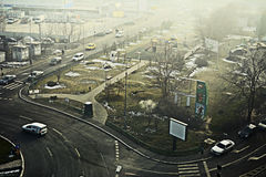 Bucharest. 19 December 2016-Bucharest,Romania. An editorial caption of a street in Bucharest, in the Lujerului district. We can see a gas station and a Plaza Royalty Free Stock Photography
