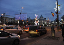 Bucharest,december 1st 2015:Christmas Lights by Night from Bucharest in Romania. Christmas Lights by Night from Bucharest in Romania on 1st december 2015 Stock Images