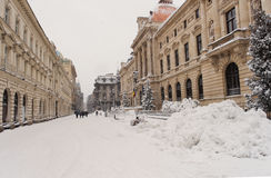 Bucharest details in a winter day Royalty Free Stock Photo