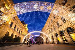 Bucharest downtown. Old city - in Bucharest Christmas light decorations royalty free stock photo