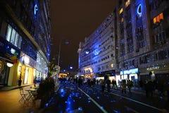 Bucharest festival av ljus 2017 Arkivbilder
