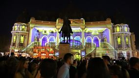 Bucharest, festival of lights 2018. On Calea Victoriei Avenue, projection on the wall of building - Central University Library and the equestrian statue of King stock video