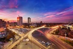 Bucharest flyg- sikt royaltyfria bilder