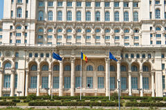bucharest frontowy pałac parlamentu widok Zdjęcia Stock
