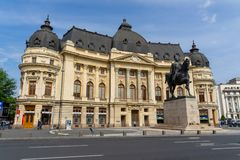 Bucharest University baroque architecture style. Bucharest has some beautiful architecture style examples remained or rebuilt after the Second World War. Here stock image