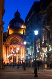 Bucharest - Historic center by night. Stavropoles street is located in the hearth of the Historic center of Bucharest. In the background you can see the old CEC Stock Image