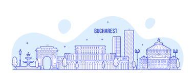 Bucharest horisont, vektor för Rumänien stadsbyggnader stock illustrationer