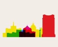 Bucharest horisontgränsmärken stock illustrationer