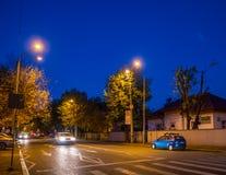 Bucharest i natten Arkivbild