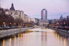 Bucharest i solnedgång Royaltyfria Bilder