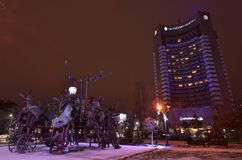 Free Bucharest Intercontinental Hotel Night Scene Royalty Free Stock Image - 113055116