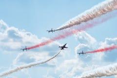 Bucharest international air show BIAS, Orlik Poland aerobatic display team. Orlik Aerobatic Team is the aerobatic team of the Polish Air Force, formed in 1998 stock photos