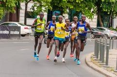 Bucharest International Half Marathon 2015. First group of runners on Bucharest International Half Marathon royalty free stock photo