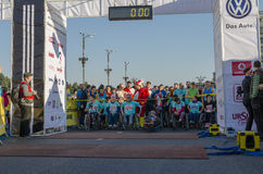 Athletes in wheelchairs at starting line Royalty Free Stock Image
