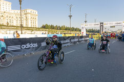 Wheelchair racers starting marathon race Stock Images